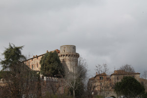 Approaching Asciano, the Cacciaconti Castle of Trequanda